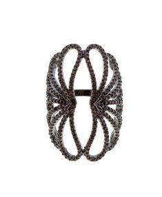 anel semijoia zirconias chocolates rodio negro