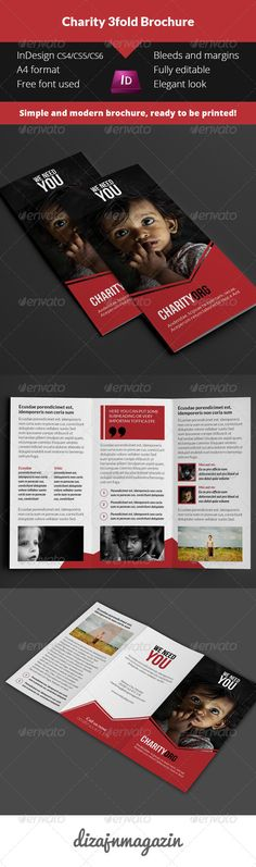 Charity 3fold Brochure - inDesign Template - Brochures Print Templates