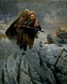 """""""Sister"""" by M. Samsonov, 1941 [[MORE]] A painting depicting a Russian woman helping a blinded Red Army soldier away from the front lines in This and other Soviet WWII art can be found here. Military Art, Military History, Kandinsky, Ww2 Women, Socialist Realism, Soviet Art, Female Fighter, Red Army, Russian Art"""