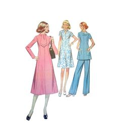 """Retro 1970's Dress, Top and Elastic Waist Pants McCall's 2748 Misses' Size 16 1/2 Bust 39""""  Vintage Sewing Pattern Uncut"""