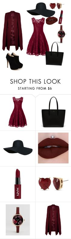 """""""Untitled #47"""" by nameno ❤ liked on Polyvore featuring Lacoste, NYX, Betsey Johnson, ASOS and WithChic"""
