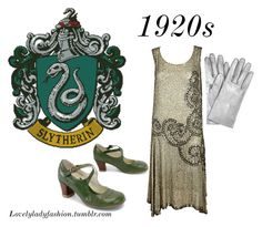 Slytherin 1920s by sad-samantha on Polyvore featuring Yves Saint Laurent and Forum