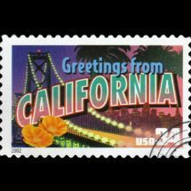 Greetings From California, United States Postal Service Greetings From America Commemorative Stamp Series released April Commemorative Stamps, California Dreamin', Stamp Collecting, Postage Stamps, Lettering, Golden State, United States, 50 States, San Diego