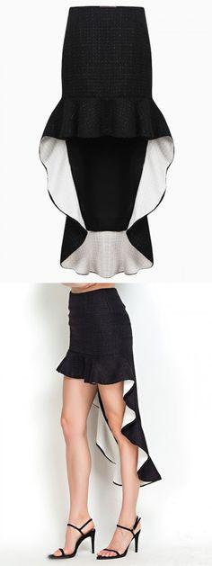 Black Woollen Bodycon Skirt with Ruffle and Asymmetric Hem