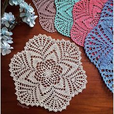 """This doily is 19 rounds and measures about 10"""". There are instructions for a picot border or an alternate border. A third border sty..."""