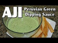 Aji Peruvian Green Sauce - YouTube Peruvian Dishes, Peruvian Cuisine, Peruvian Recipes, Pio Pio Green Sauce Recipe, Aji Sauce, Chefs, Verde Sauce, Chicharrones, Gastronomia