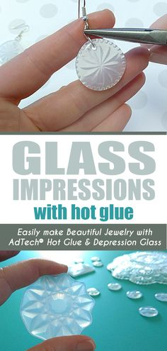 Learn how to make beautiful glass impression jewelry and charms from vintage and antique depression glass using AdTech brand clear hot glue. hot glue gun crafts Hot Glue Jewelry Using Glass Dishes as Molds Hot Glue Art, Crafts With Hot Glue, Glue Gun Projects, Glue Gun Crafts, Diy Crafts, Fun Craft, Fun Diy, Craft Ideas, Diy Glue