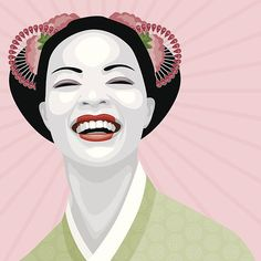 A young geisha laughing. Geisha Kunst, Geisha Art, Free Vector Art, Girl Face, Illustration, Fictional Characters, Image, Laughing, Google Search