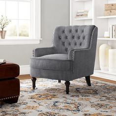 """Three Posts™ Manford 32"""" Wide Genuine Leather Round Storage Ottoman & Reviews   Wayfair Tufted Chaise Lounge, Wingback Accent Chair, Chair And Ottoman, Accent Chairs, Swivel Armchair, Round Storage Ottoman, Beige, Gray, Counter Stools"""