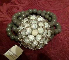LIA SOPHIA BRACELET NEW WITH TAGS gray beaded Valentine's day gift opaline