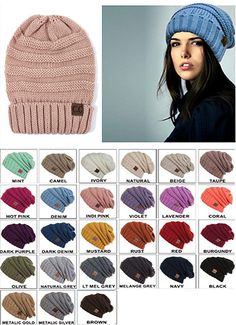 Solid Color Slouchy CC Beanie Hat e911a579080a