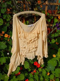 Gauze Linen Asymmetric Tank Top ruffled frills layer look quirky funky