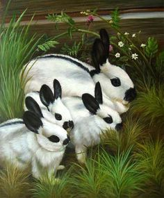 rabbit painting | Original oil painting - Mother Rabbit with Young ones- on canvas - $45 ...
