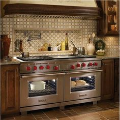 Contemporary Range from Wolf, Model: 60-inch Gas Rangetop with Dual Convection Electric Oven (Image of 48-inch model)
