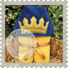 Prince Crown hooded towel design. #Embroidery #Applique