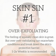 SKIN SIN #1- Overexfoliating can break down the skins protective barrier. 1-2x Weekly is recommended for most skins. Are you guilty of this Skin Sin? . . . . . . . #skinsin #sknsins #skinsinseries#thebeautyclinic #skin #skincare #beauty #expertadvice #expertknowledge #free #toptips #series #thebeautyclinicseries #skincarehelp#beautytherapy #beautytherapist #skintherapist #advancedskincare #skinhealth #skintips #clinic #nzbloggers #nzblog #auckland #botany #meadowbank #newzealand #nz