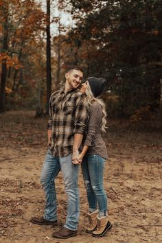 Fall forest engagement session shot at Monroe Lake Park Indiana by Holly Lea Photography: C+L - Indiana Wedding Photographer