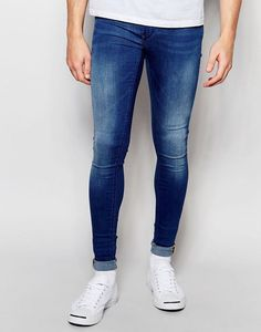 Blend+Flurry+Extreme+Super+Skinny+Jeans+in+Mid+Blue Hot jeans and hot model! Tight Jeans Men, Superenge Jeans, Jeans And Vans, Jeans And Sneakers, Boys Jeans, Super Skinny Jeans, Skinny Pants, Men's Sneakers, Men Pants