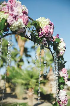 top of our arch with crystals by @NINFA'S FLOWERS lovely photo by @Cynthia Meza-Jaquez