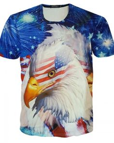 Men Eagle US Flag 3D Print Tank Top Sleeveless Sports T-shirt Casual Graphic Tee