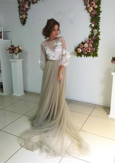 Prom Dresses,Evening Dress,Prom Dresses,Modest Elegant Long Sleeve Appliques