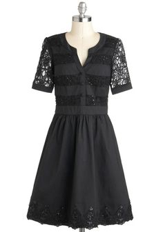 Well-to-Dew Dress in Noir, available in plus sizes. Love the beading, the cut out work and the casual neckline.