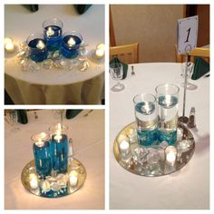 DIY inexpensive centerpieces for parties...add food coloring to water or use colored jewels; buy bag of floating candles from Michael's and scatter petals around base of the vase.