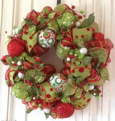 Red and Green Dot Fanciful Christmas Wreath by HertasWreaths.