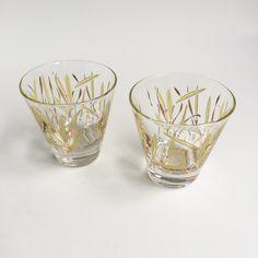 2 Vintage Wheat stalk small shot bar glasses by PowersMod on Etsy