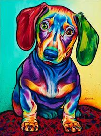 Dachshund DIY Diamond Painting - Animal Resin Cross Stitch Kit - Crystals Embroidery - Home Decor Craft (Dog) Arte Dachshund, Dachshund Love, Dachshund Puppies, Weenie Dogs, Doggies, Dog Paintings, Matisse Paintings, Art Plastique, Stretched Canvas Prints