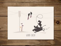 #Postkarte Good #Luck. #Glück #Wildschwein #Hund