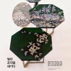 ARIJIAN|아리지안 Oriental Furniture, Funky Furniture, Painted Furniture, Furniture Design, Asian Home Decor, White Home Decor, Lacquer Paint, Art Deco Rugs, Korean Art