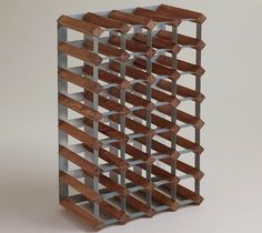 Wood And Metal Industrial Wine Rack