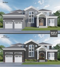 A beautiful home exterior paint job is a show stopper! We've found the best 2020 exterior house colors when selling or staying in your home. Stucco House Colors, Exterior Paint Colors For House, Paint Colors For Home, Brick Colors, Stucco Homes, Stucco Exterior, Grey Exterior Houses, Bungalow Exterior, Exterior Color Schemes