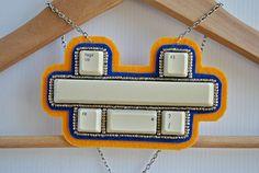 Geek Keyboard Jewellery Beaded Felt Statement by spiritfiredesigns, $49.00