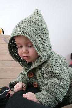 free #crochet pattern: baby hoodie, gratis patroon, haken, baby, jasje, capuchon