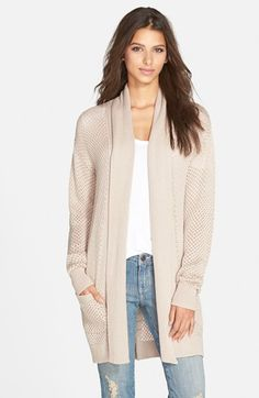BP.+Long+Textured+Open+Cardigan+(Juniors)+(Online+Only)+available+at+#Nordstrom