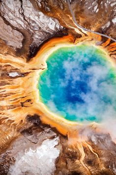Grand Prismatic Spring — Yellowstone National Park, Wyoming.  Yellowstone is just a big volcano waiting to blow!