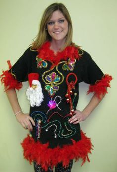 ugly christmas sweater 17 long black with decorations ugly christmas jumpers tacky christmas party