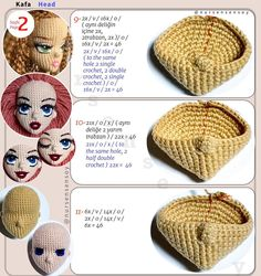 Crochet Doll Pattern, Crochet Patterns Amigurumi, Amigurumi Doll, Crochet Dolls, Half Double Crochet, Single Crochet, Crochet Crafts, Crochet Projects, Chicken Scratch Embroidery