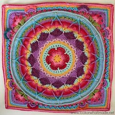 "This is a photo tutorial for ""squaring up"" Sophie's Mandala. Free crochet pattern for this stunning mandala blanket on Ravelry"