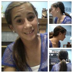 Braided hair today really easy just normal braid your hair back (can do with middle or side part) tie with little elastics make low ponytail and tie (: