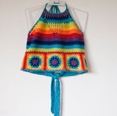 90s rainbow crochet halter neck crop top by THIRDWRLD on Etsy