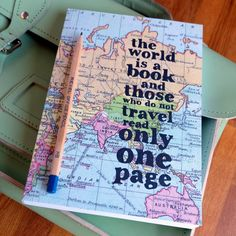 """A beautiful map travel journal covered in a vintage world map and a quote to inspire exploration – perfect as a gift for travellers.The inspiring quote on the front reads: """"The world is a book and those who do not travel read only one page."""" For the traveller in your life, this journal sized notebook makes a beautiful, functional gift. It's chunky with plenty of room for notes, lists, doodles and sketches. Perfect for teenagers about to leave for their gap year, or for friends and ..."""