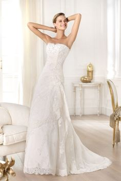 2014 Exceptional Wedding Dresses Sheath/Column Strapless Sweep Train Lovry Lace Up New Style