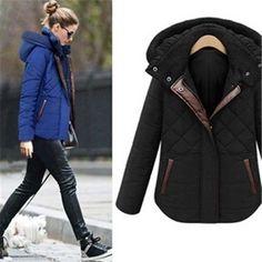 Winter 2014 Parka Womens Plaid Hooded Slim Coats Ladies Jackets