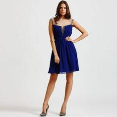 Little Mistress Blue mesh insert fit and flare dress- at Debenhams.com