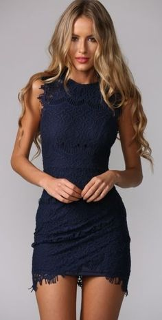 Sleeveless Crochet Mini Dress - Navy