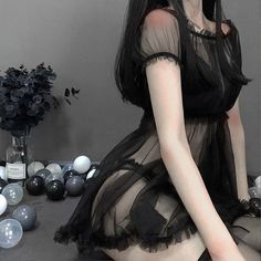 Princess One-word Shoulder Sexy Tulle Sleepwear - mefashionova Bad Girl Aesthetic, Aesthetic Clothes, Daddy Aesthetic, Edgy Outfits, Fashion Outfits, Mode Rock, Cute Lingerie, Kawaii Clothes, Daddys Girl