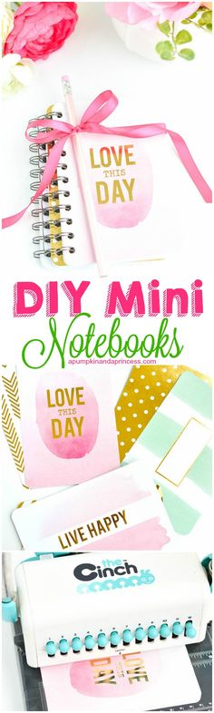 These DIY Mini Notebooks are so cute and they look easy to put together. They would make perfect gift ideas for Mother's Day, teachers gifts or other simple gifts.